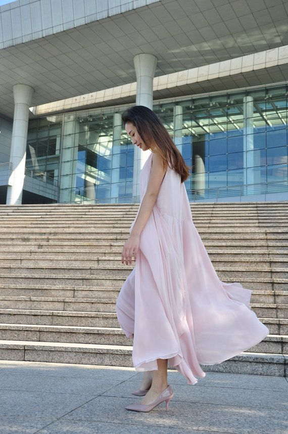 Nude Pink Plus Size Dress Vest Dress Irregular Summer Long