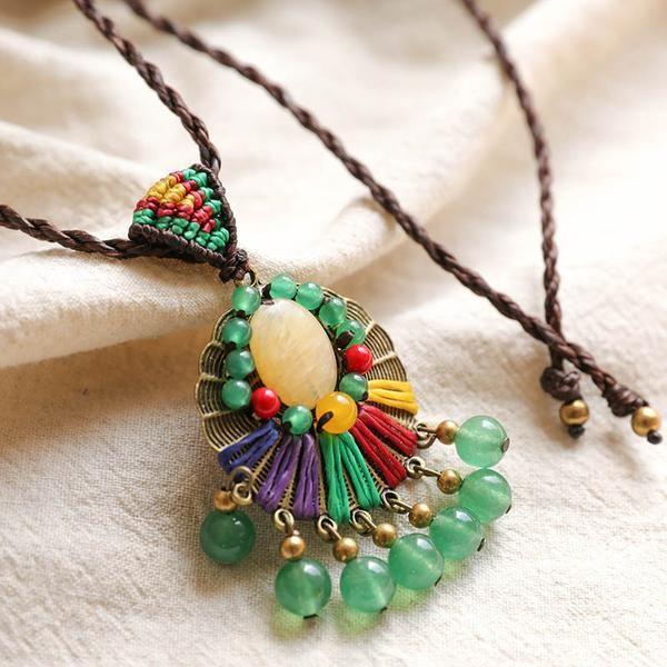 Green Agate Women Elegant Round Copper Vintage Necklaces - Buykud