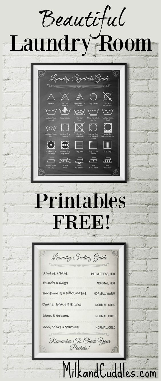 GENIUS! And FREE! Pinning for my Laundry room makeover. Free Decor!  Laundry room just not functioning the way you want? Looking rather lackluster?  That's why I LOVE these FREE printables for laundry room! Not only do they look elegant on the wall, but they serve an actual purpose by helping you translate the common laundry symbols found on clothing.: