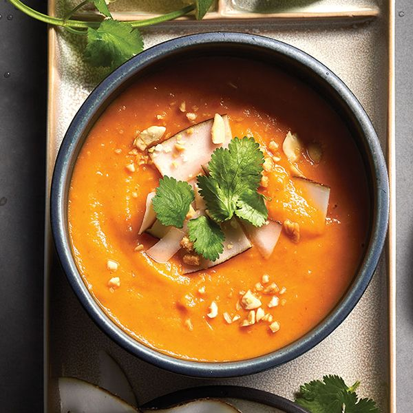 Looking for an Instagram-worthy dish for those frosty days? Give this Thai sweet potato red curry soup - topped with cilantro and shaved coconut - a whirl.