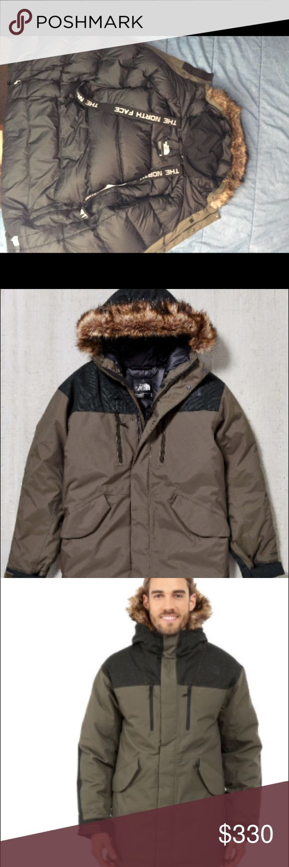 The North Face Mount Logan Parka Taupe Green Med -The north face mount Logan parka (retail $400 USD)  -Taupe green with black patches on shoulders and elbows -Parka is brand new with original tags -Model in the picture is 6ft tall with a 40 inch chest in a size medium    Features include  - 550 fill down insulated with waterproof canvas - logo harness for easy carrying -neck gaiter that ticks into collar when not in use -flex good with removable fur brim -water resistant zips on chest -zip…