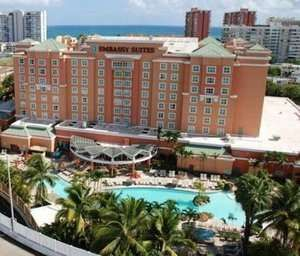 FREE BREAKFAST  Experience the best of beautiful Carolina, Puerto Rico, at this hotel and casino.Embassy Suites San Juanis a 10-minute walk to Isla Verde Beach, an 11-minute drive to the center of San Juan, and less than 2 ...