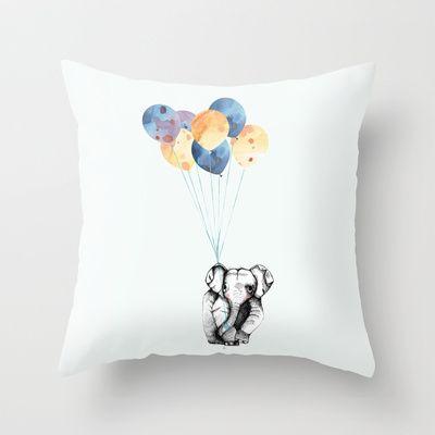 Elephant & Balloons! Throw Pillow by Jeanette Stavik Kjøsnes