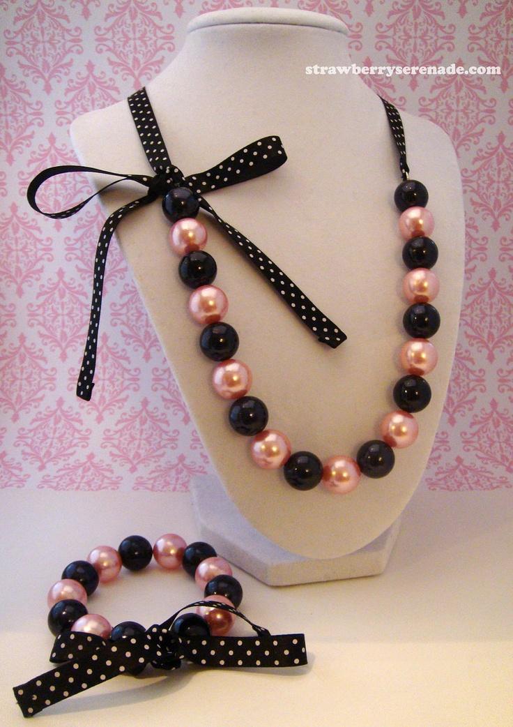 Pink & Black Pearl Lolita Bow Ribbon Necklace AND Bracelet Set. $24.00, via Etsy.