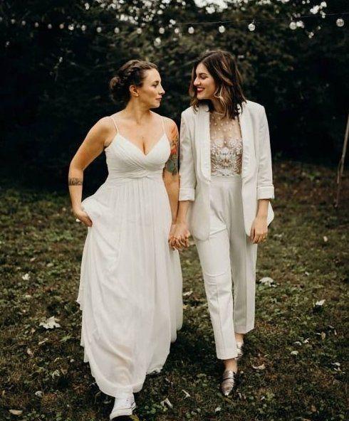 Lesbian marriage costume & go well with – Weddings Wedding Suits, Wedding Attire, Wedding Dresses, Marriage Dress, Two Brides, Lesbian Wedding, Wedding Inspiration, Wedding Ideas, Wedding Menu