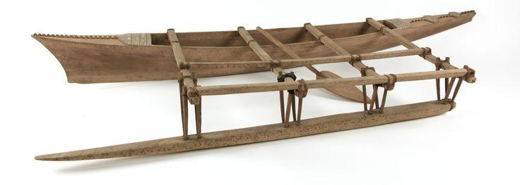 Samoan fishing canoe model