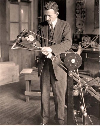 Dr. William Coolidge with X-ray tube on first mobile X-ray system from 1918...we've come a long way