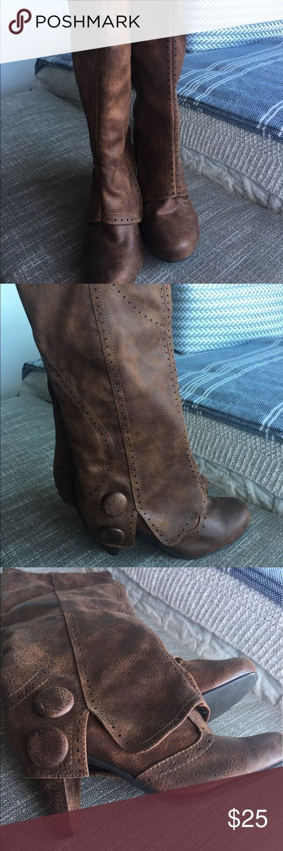 Brown knee high boots Super cute brown heeled boots. Hits right below knee. In excellent condition. Not Rated Shoes Heeled Boots