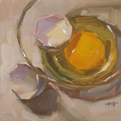 "Daily+Paintworks+-+""Egg+in+Glass""+-+Original+Fine+Art+for+Sale+-+©+Carol+Marine"