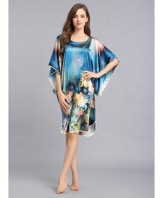 Vestagliette in Pura Seta 100% con fantasia floreale sui toni del blu in vendita online su miamastore.com