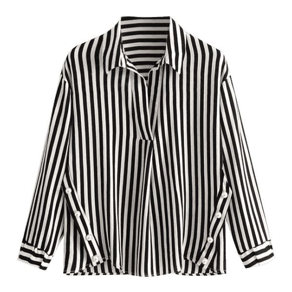 Faux Pearls Stripes Blouse ($19) ❤ liked on Polyvore featuring tops and blouses