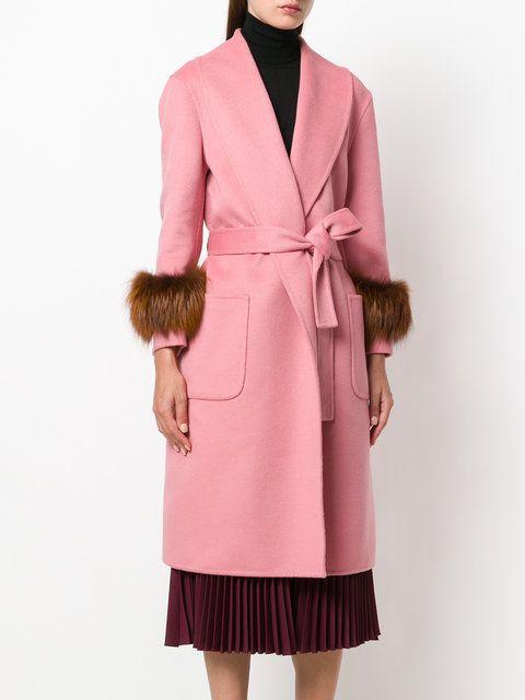 Prada fox fur cuff robe coat | Пальто, Прада