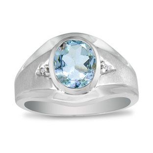 Men's Oval Aquamarine Diamond Dual Finish White Gold Ring Available Exclusively at Gemologica.com
