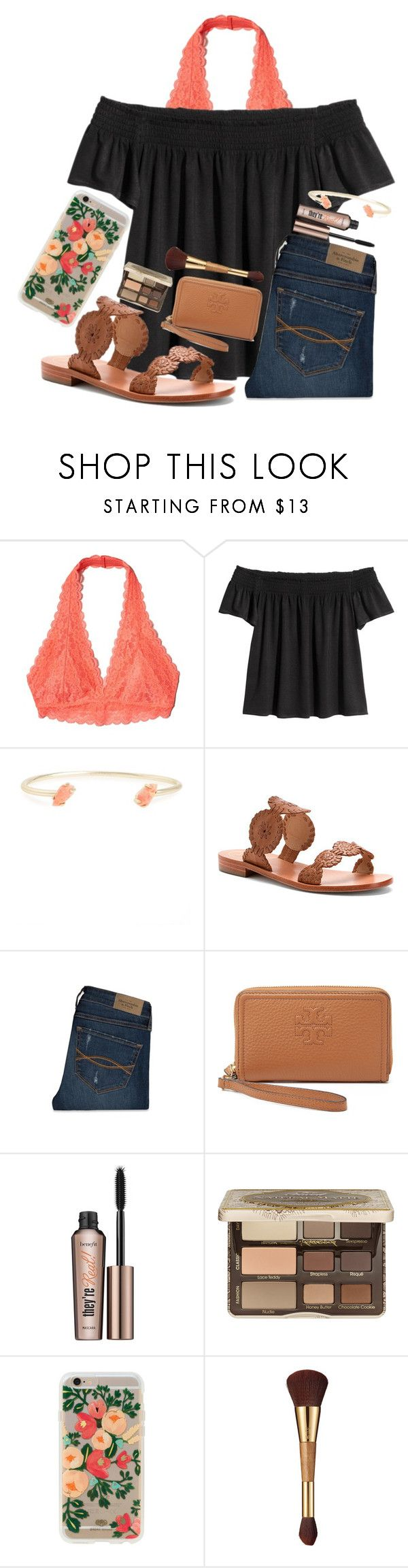 """""""Coral """" by nhumphrey ❤ liked on Polyvore featuring Hollister Co., Kendra Scott, Jack Rogers, Abercrombie & Fitch, Tory Burch, Benefit, Too Faced Cosmetics, Rifle Paper Co and tarte"""