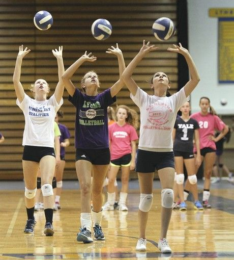 Volleyball Drills For High School...some decent ideas, but I can't get over this picture and how much the setting form hurts me inside :/