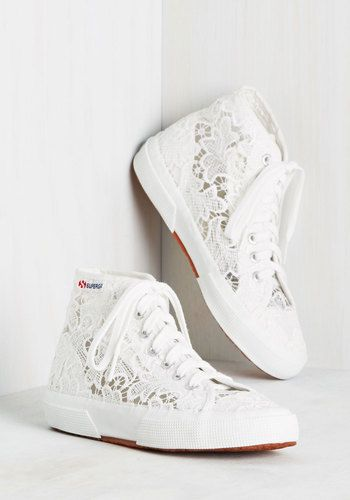 Fleurs of Action Sneaker. The minute you lace into these floral lace hi-tops by Superga, your plans are already in motion! #wedding #bride #modcloth
