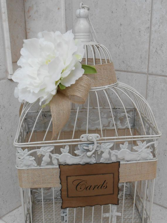 Birdcage Wedding Card Holder / Card Box / Rustic / by YesMoreFunk, $62.00