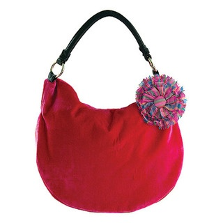 """Rosette"" Silk & Velvet Shoulder Bag with gorgeous striped silk taffeta lining."
