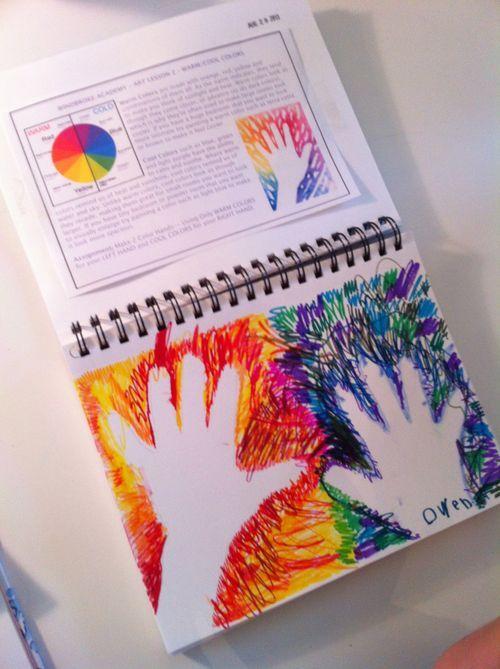 Warm/Cool Colors Homeschool Art Lessons- w/ printable.