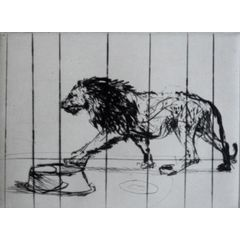 "WILLIAM KENTRIDGE ""LION OF RIVOLI"" DRYPOINT ETCHING / FRAMED for R35,000.00"
