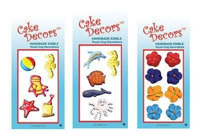 Cake Decors Summer Theme - 6 Pack Assorted by Cake Decors. $6.00. 6 packs of edible royal icing summer themed cake decorations. Includes 2 of each: Summer, ocean, forget-me-nots (dark). Great for birthday cakes, cupcakes, and other celebration treat.  Gum paste and other royal icing designs available on our website: www.cakedecors.com