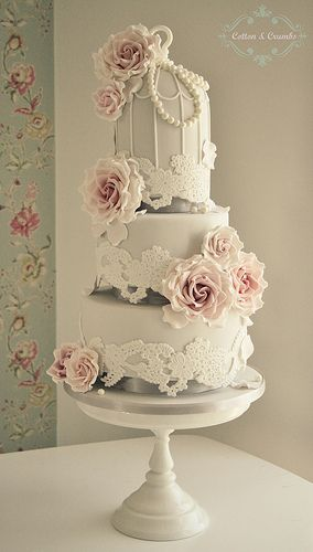 Lace Birdcage wedding cake by Cotton and Crumbs, via Flickr
