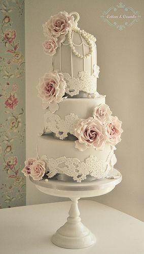 Lace Birdcage wedding cake