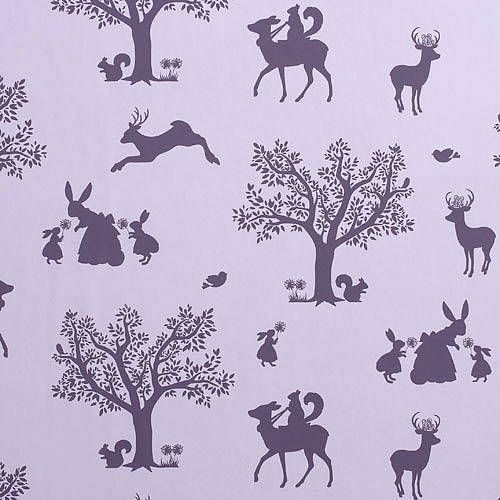 Aubergine Enchanted Woodland Wallpaper