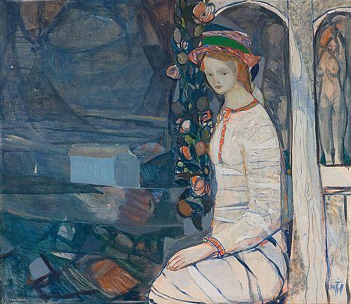 """Kai Fjell, """"Kvinne på veranda"""""""