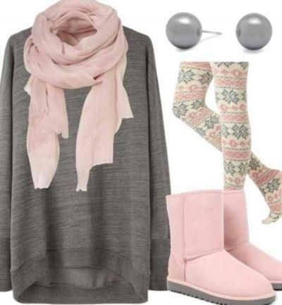 Winter outfit printed leggings scarf