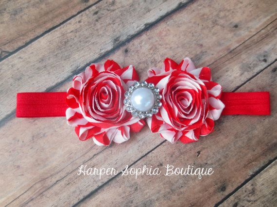 Baby Christmas Headbands Red and White by HarperSophiaBoutique, $10.25