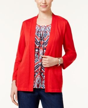 Alfred Dunner Petite Uptown Girl Layered-Look Top - Red PL