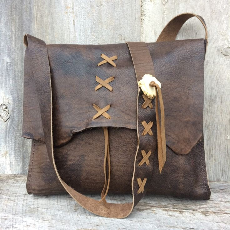 Leather Cross Body Bag in Distressed Brown - Handmade - All Leather - Deer Antler Accents - Lacing - Rustic Style - by Stacy LeighHandmade leather bag that is h