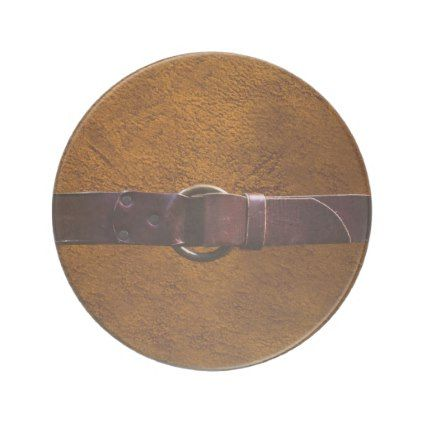 Leather & Belt Brown Leather Sandstone Coaster - create your own personalize