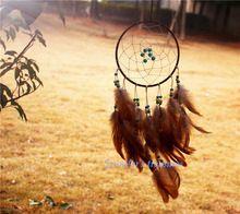 2015 новинка оригинальность большой коричневый ловец снов ветер куранты индийский стиль череп перо ловца снов подарок(China (Mainland))