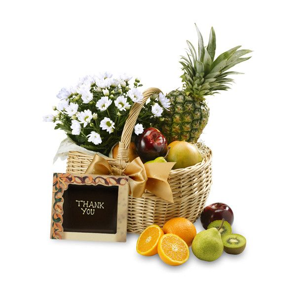 The Thank You Fruit Flower Basket ($74) ❤ liked on Polyvore featuring home, home decor, floral decor, fruit, fillers, flowers, food, backgrounds, fruit basket and flower stems
