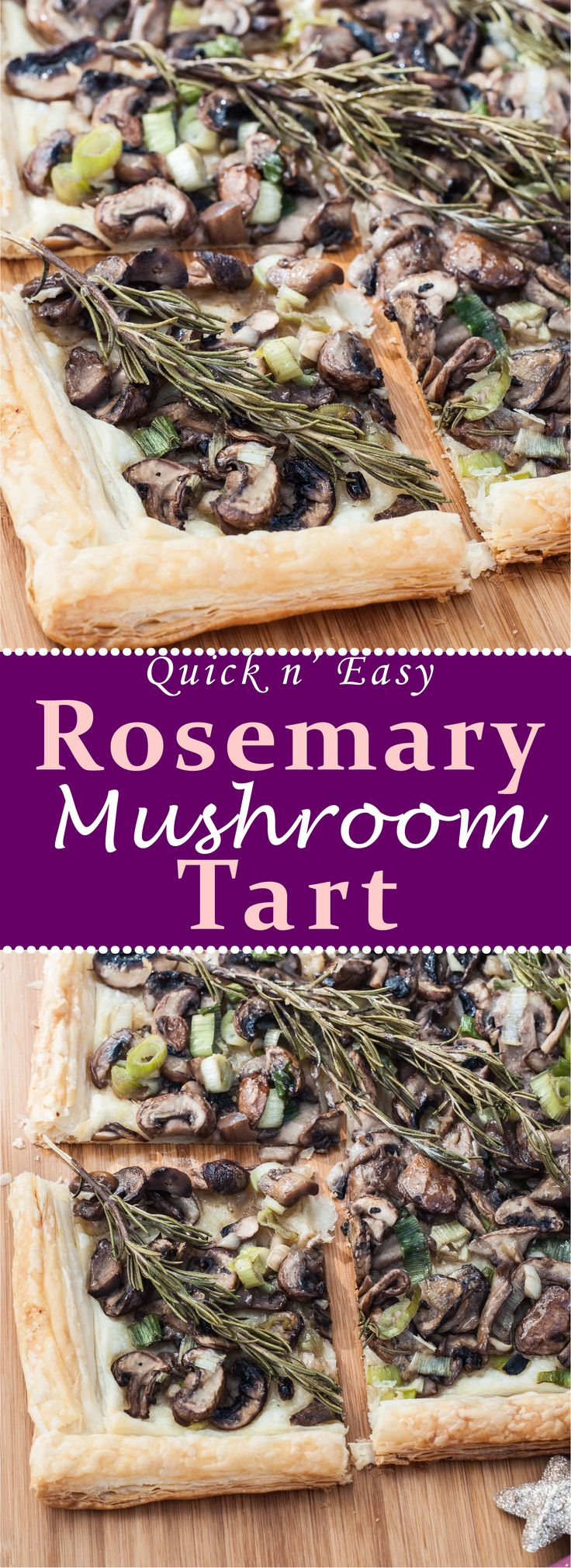 Quick, Easy and Healthy Rosemary Mushroom Tart Recipe! This Vegan Mushroom Tart is so flavorful and simple to make. Eat it as a side, entree, or cut it into small slices for the perfect appetizer! Very healthy, vegan, and gluten-free if gf puff pastry is used. | VeganFamilyRecipes.com |  #vegetarian #winter #food