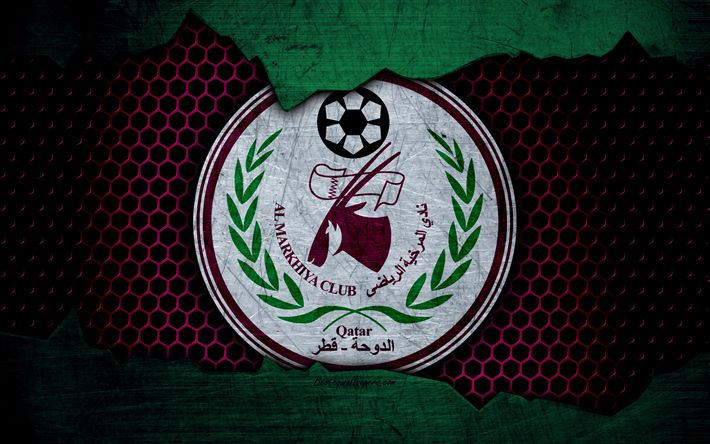 Download wallpapers Al-Markhiya, 4k, logo, Qatar Stars League, soccer, football club, Qatar, Doha, grunge, metal texture, Al-Markhiya FC