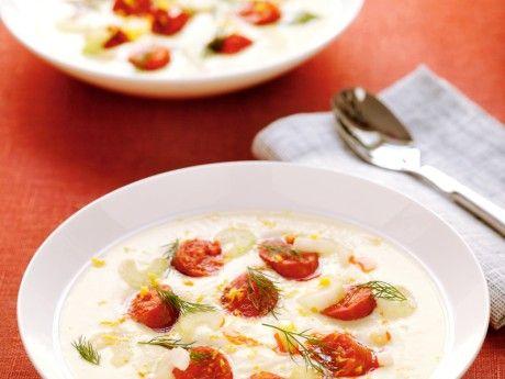 Krämig rotsellerisoppa med chorizo och dill