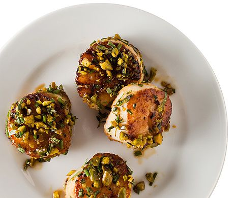 Pistachio-Crusted Scallops Recipe at Epicurious.com