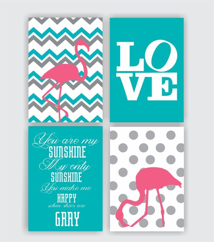 Confira aqui - Set 4  Posters Flamingo Chevron - Hey You