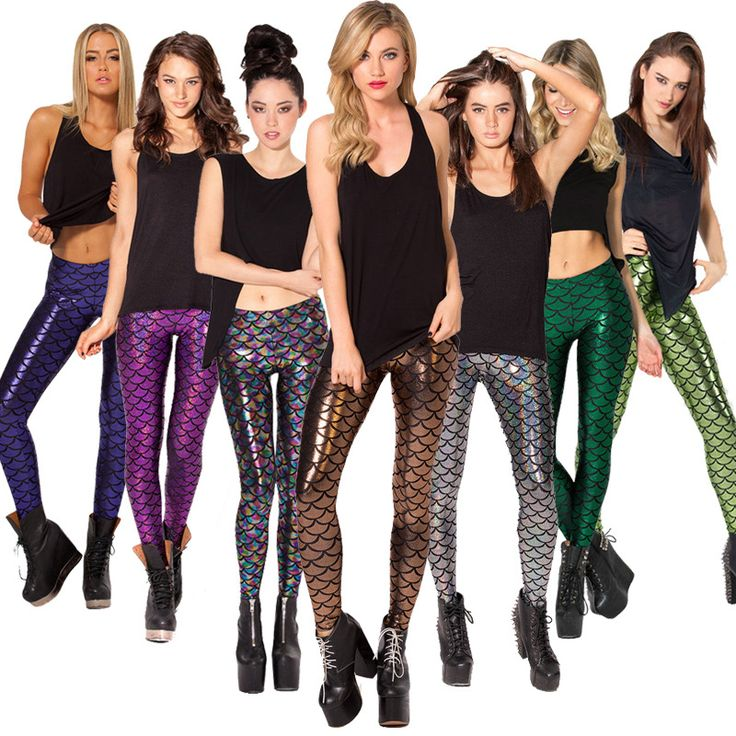 Leggings high waist leggings workout clothes for women Mermaid multicolor multi code sales in Europe and America scales bright