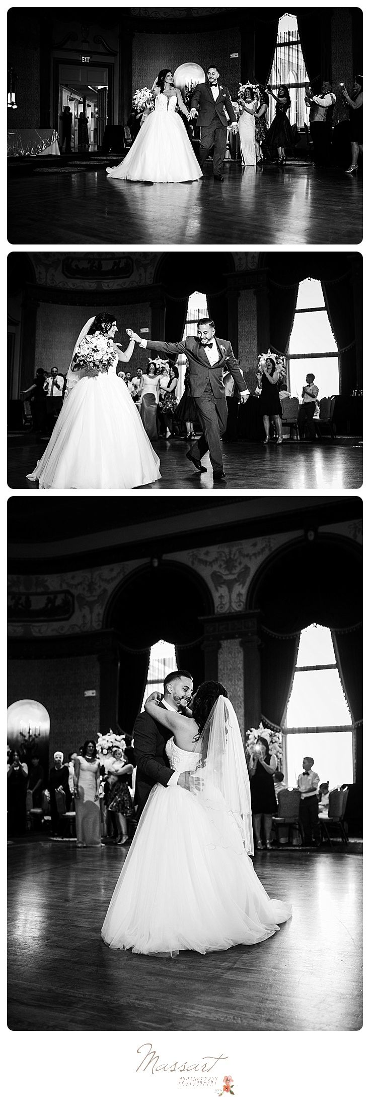 Glamorous black and white wedding portraits of the bride and groom walking in the ballroom at their reception photographed by Massart Photography of Rhode Island. | www.massartphotography.com; info@massartphotography.com
