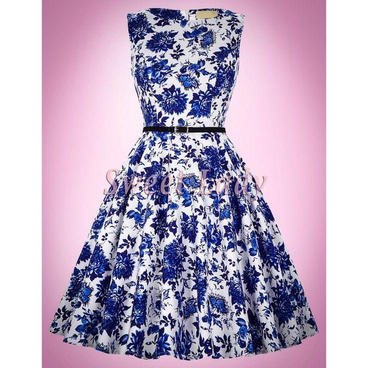 Biele retro šaty s modrými kvetmi 034 - Sweetlady.eu