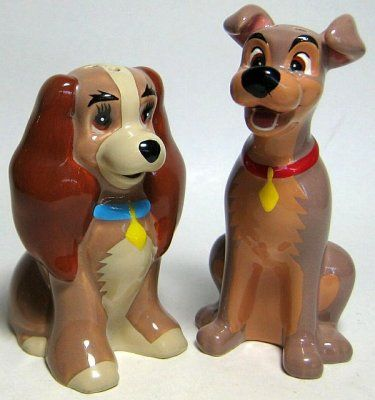 Lady and Tramp sitting salt and pepper shaker set