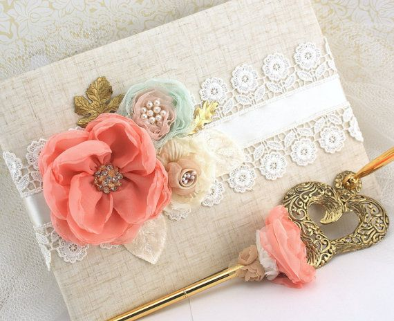 Wedding Guest Book and Pen Set Large Shabby Chic in by SolBijou, $140.00