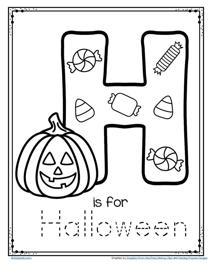 FREE H is for Halloween tracing and coloring alphabet