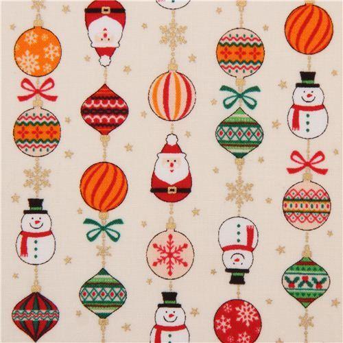 197207 tessuto natalizio color panna ornamenti natalizi palline dal Giappone