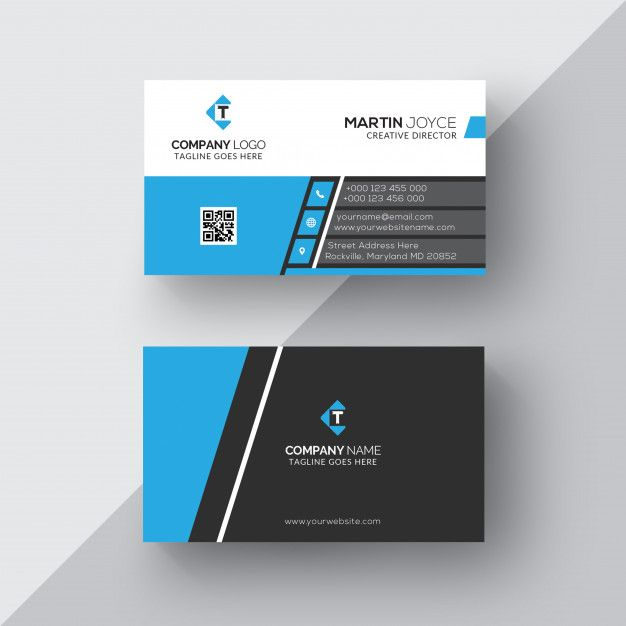 Black Blue Corporate Business Card Template Premium Business