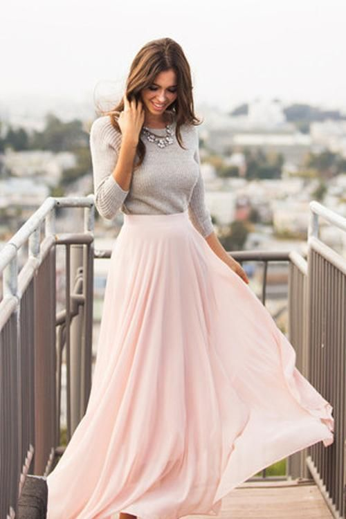 7d9f1475f4 Light Pink Chiffon Skirt | Love in 2019 | Fashion, Outfits, Skirt ...